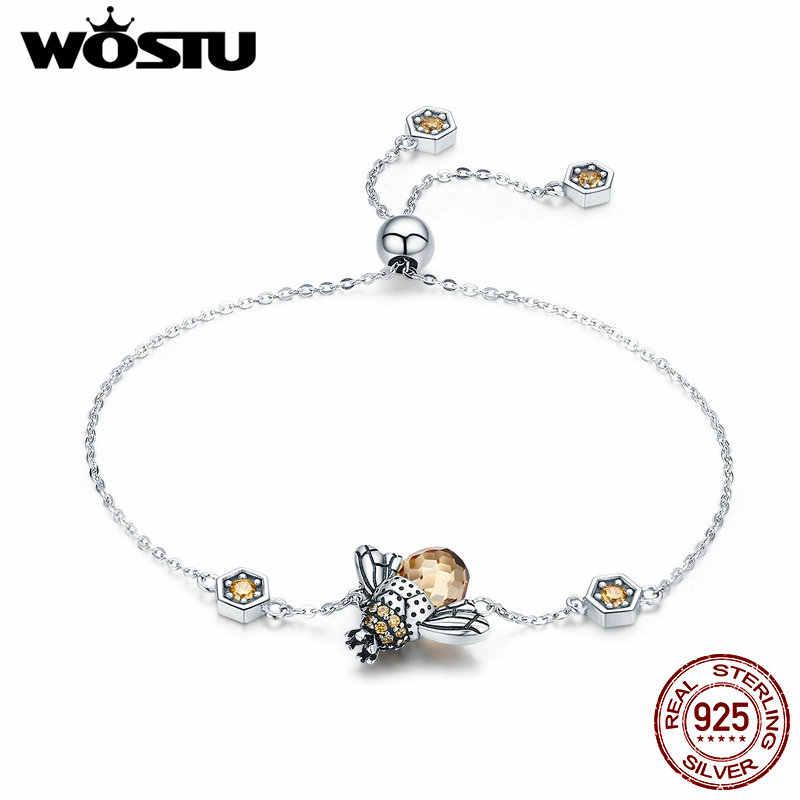 WOSTUแท้ 925 เงินสเตอร์ลิงCrownน้ำผึ้งBeeสร้อยข้อมือสร้อยข้อมือสำหรับผู้หญิงBig Stoneสร้อยข้อมือคริสตัลเครื่องประดับของขวัญFIB043