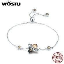 WOSTU pulsera de eslabones de cadena de abeja para mujer, de corona de Plata de Ley 925 auténtica, pulsera de cristal de piedra grande, regalo de joyería FIB043
