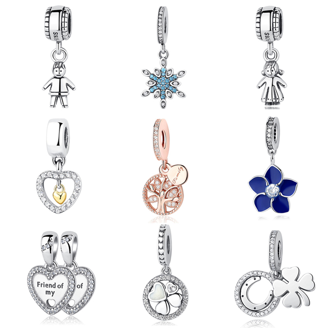 Authentic 925 Sterling Silver Beads Good Luck Clover Crystal Heart Family Tree Pendant Fit Original Pandora Bracelets DIY Charms