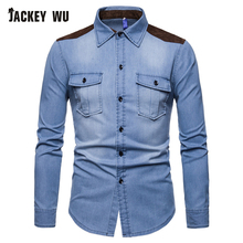 JACKEYWU Denim Shirt Men 2019 Fashion Korean Suede Patch Washed Jean Shirt Chest Pocket Long Sleeve Casual Shirts Blue Camisa все цены