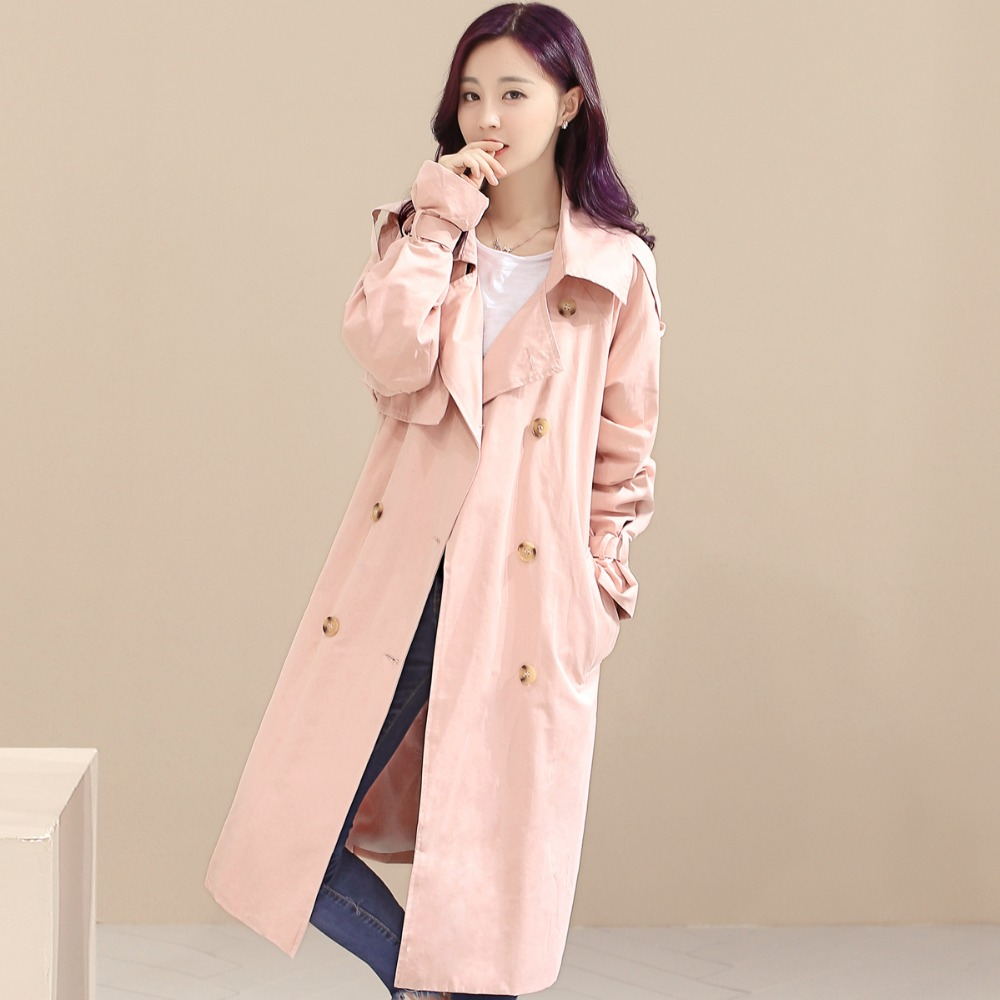 Casual Long Printemps Breasted Femmes vent Coupe Manteau Outwear khaki Blue Grands Tnlnzhyn Trench Double Moyen 2018 pink Automne Coat Chantiers Sk313 zxWgPq