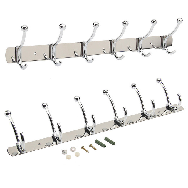 Single Rod 12hooks 45cm Wall Coat Hanger Bathroom Cloth Towel Rack Holders Kitchen Room Cabinet Hat Row Hooks