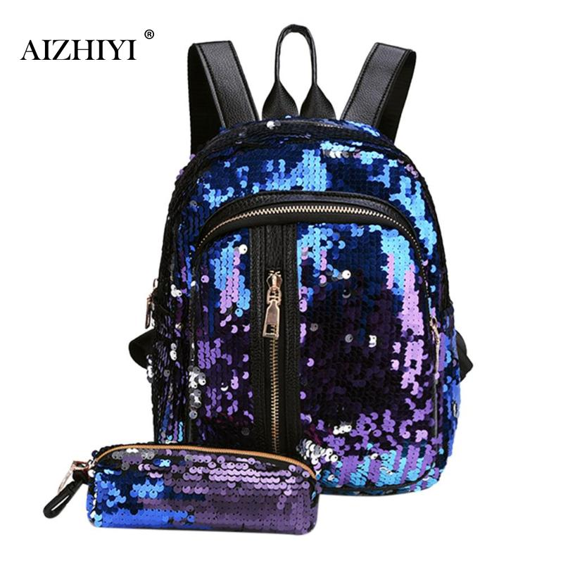 2pcs/Set Glitter Sequins Backpack For Teenage Girls Fashion Bling Rucksack Students School Bag With Pencil Case Clutch Mochilas