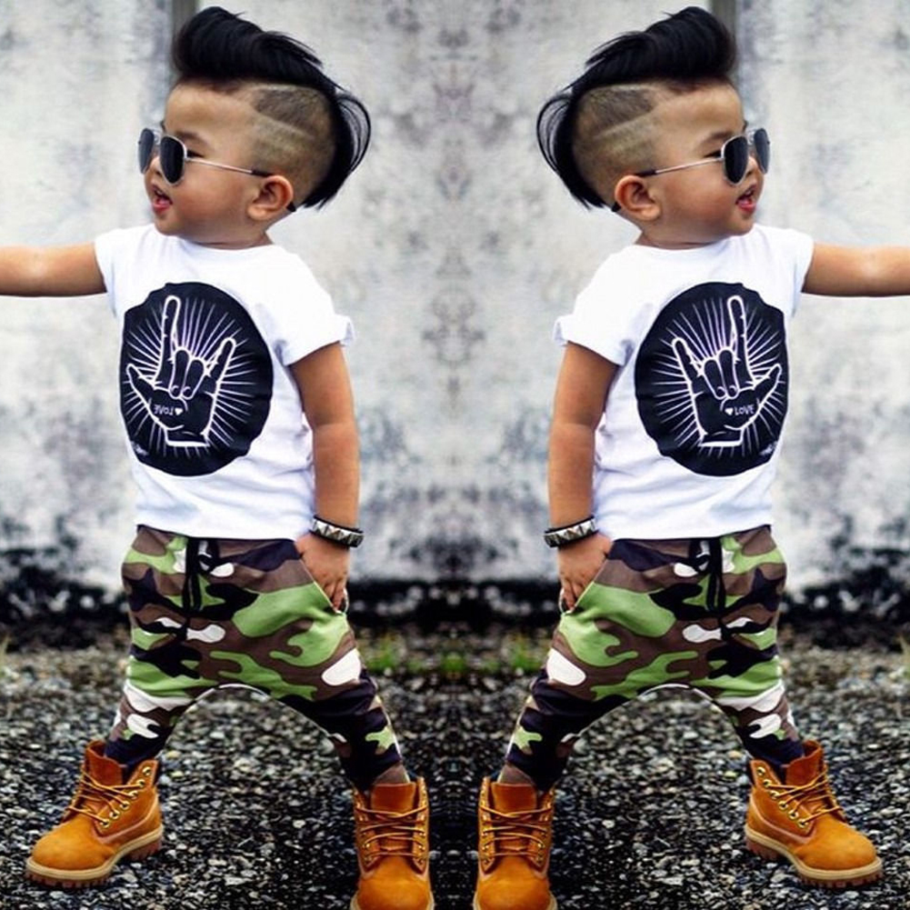 2pcs Baby Toddler Boys Sunmmer Clothing Set Kids Finger Print T-shirt Tops+Pants Trousers Fashion Clothes Outfit For 0-36M 2pcs children outfit clothes kids baby girl off shoulder cotton ruffled sleeve tops striped t shirt blue denim jeans sunsuit set