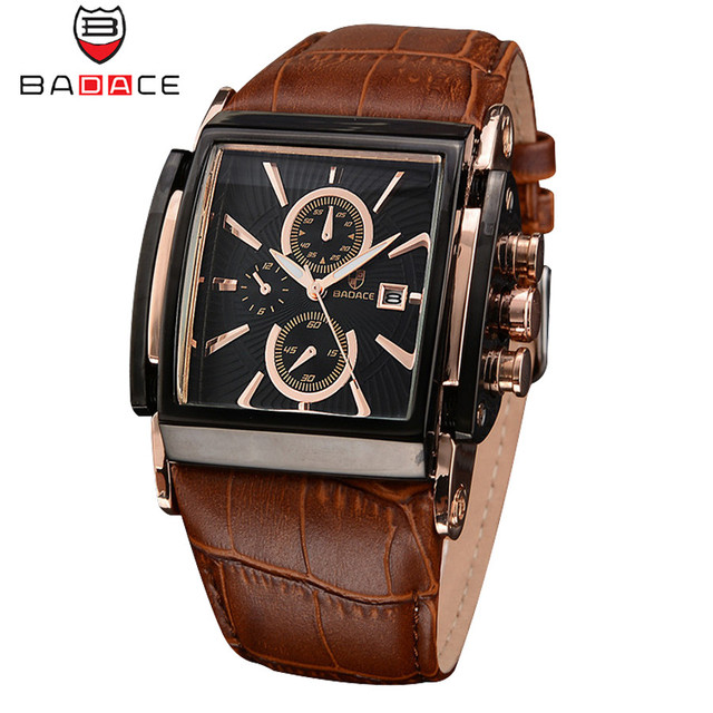 BADACE Brand Leather Strap Mens Watches Hours Casual Square Clock Japan Movt Qua