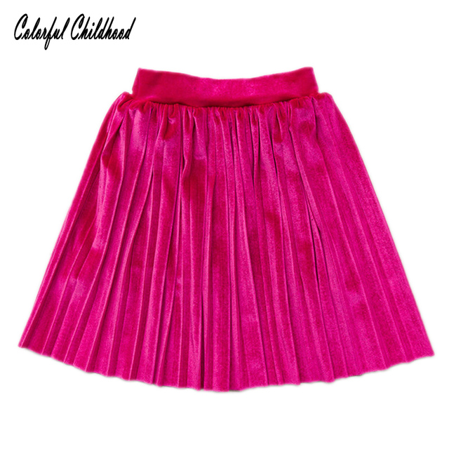 f81a70de00 Colorful Childhood Baby Girls Skirts Velvet Princess Girls pleated Skirt  Autumn toddler Kids Short Skirt Children Clothing