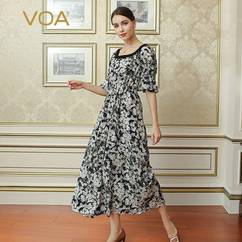 VOA Soie Nuisette Femmes Impression Chemise De Nuit Plus La Taille 5XL vêtements de Nuit Col Carré Confort Dentelle Robes Taille Haute D'été NLX00801