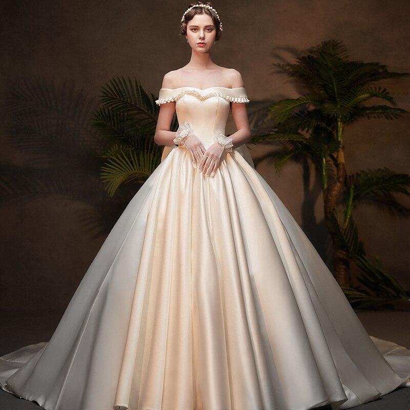 2019 robe de bal élégante tache Lotus feuille collier robes de mariée bretelles à lacets arc mariée robe de mariée vestido de noiva