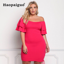 купить XL-XXXL Large Size 2019 Spring Summer Knitted Sexy Black Dress Women Off Shoulder Pleated Party Dress Women Red Vintage Dresses дешево
