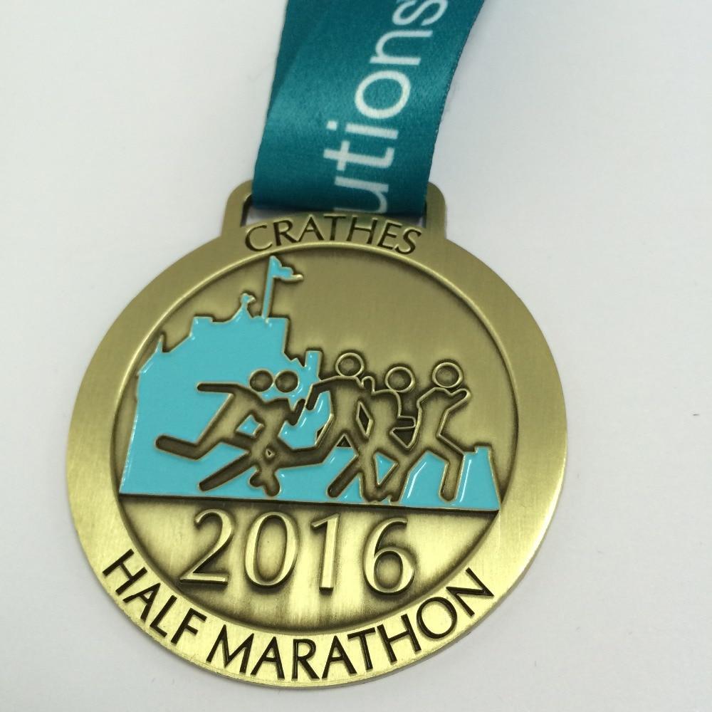 ①Personalizado corriendo medalla en oro/plata/bronce chapado con ...