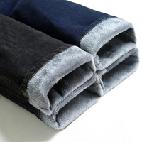 Brand Men Winter Thick Warm Fleece Denim Jeans Mens Keep Warm Overalls Trousers Washed Wool Pants Plus Size