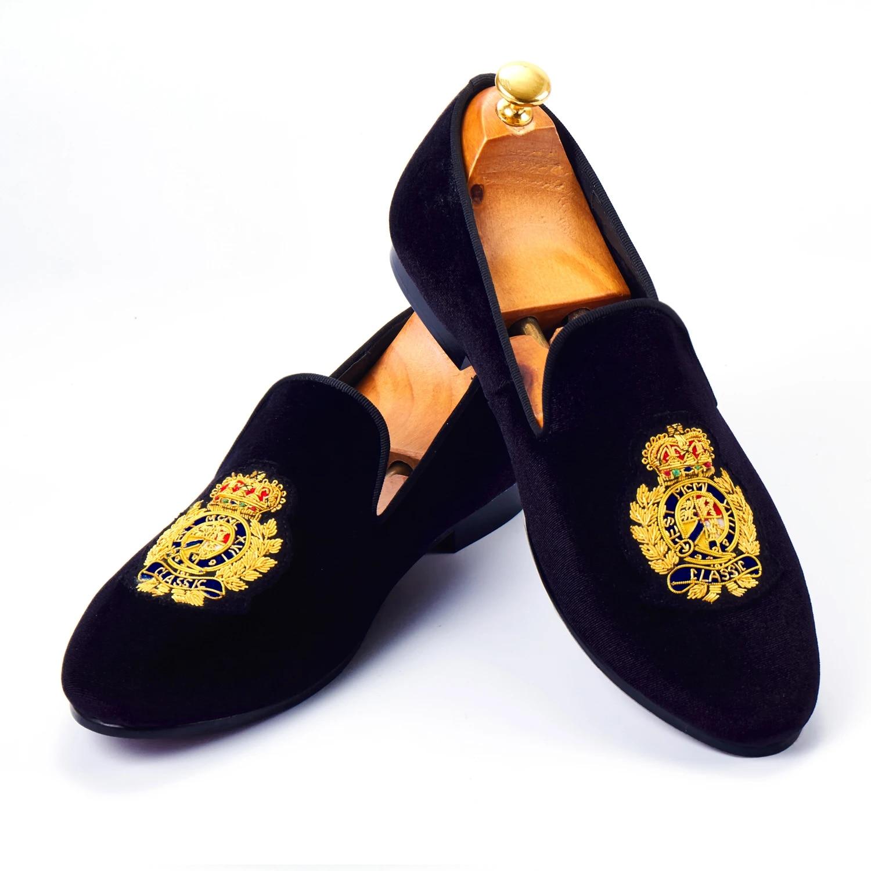 Harpelunde Slip On Men Formal Shoes Black Velvet Loafers Badge Size 6-14