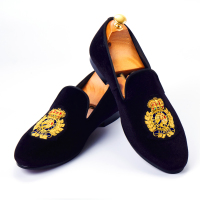 Harpelunde Men Dress Shoes Handmade Bullion Black Velvet Loafers Fashion Smoking Slippers Size 6 14