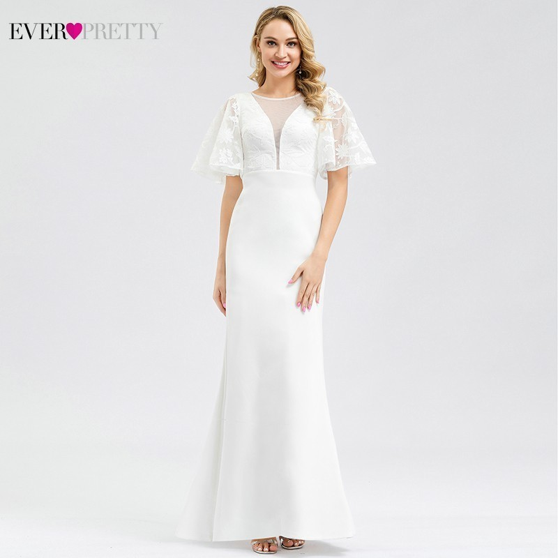 Ever Pretty Elegant Lace Wedding Dresses O-Neck Short Sleeve Zipper Sexy Illusion Mermaid Bride Dresses Vestidos De Novia 2020