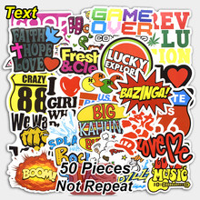 50 Pcs Mixed Text Stickers for Laptop Bike Phone Skateboards Luggage Car Styling DIY Decals JDM Graffiti Decorative Cool Sticker(China)