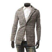 2017 новый стиль мужской бренд одежда мужская осенне-зимнее пальто теплое пальто ветер Тонкий longue homme одного пряжки решетки