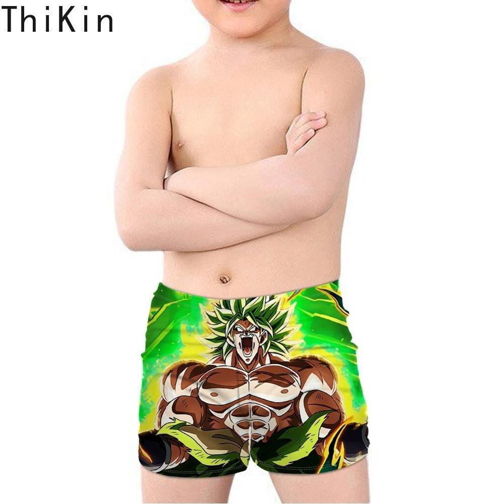 THIKIN Ultra Instinct Goku Z Broly Super Saiyan Print Kids Boy Swimsuit Dragon Ball Beach Swimming Trunks Children Swimwear 2019 in Men 39 s Trunks from Sports amp Entertainment