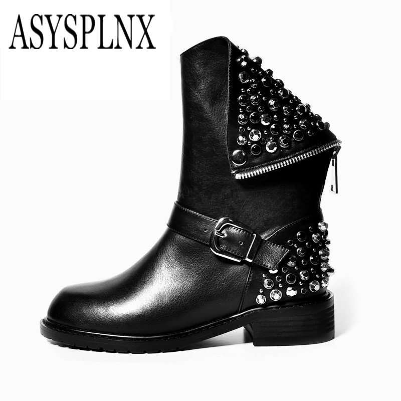 ASYSPLNXbrand  2018  leather round toe black Rhinestone women Martin mid calf boots winter warm fashion zipper woman shoes A041 fashion winter women martin boots round
