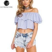Blue Striped Ruffles Off Shoulder Women Blouses Crop Tops Summer 2016 Slash Neck Casual Sexy Girls Shirts Short Blusas Feminina