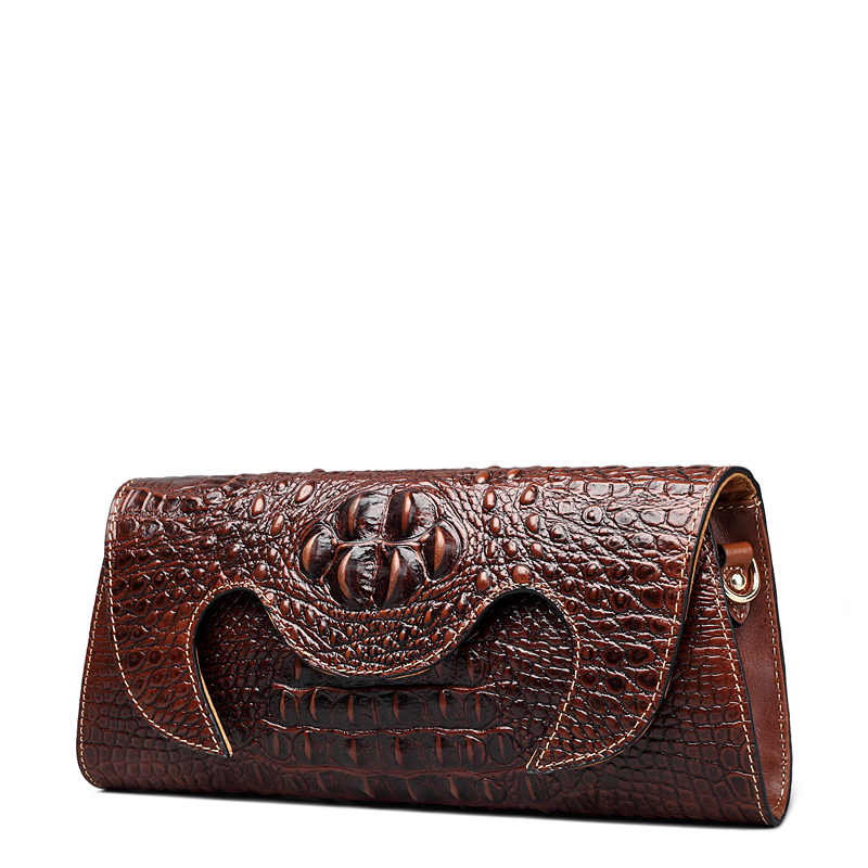 QISU Halloween Women Embossed Crocodile Clutch Bag  Single Shoulder Strap Lady Handbag Fashion Alligator Female messenger bag