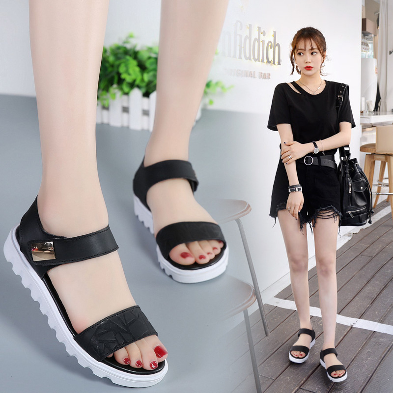 2019 new summer flat with leather shoes Korean version of the wild flat-bottom fairy windals tide word with women's shoes(China)