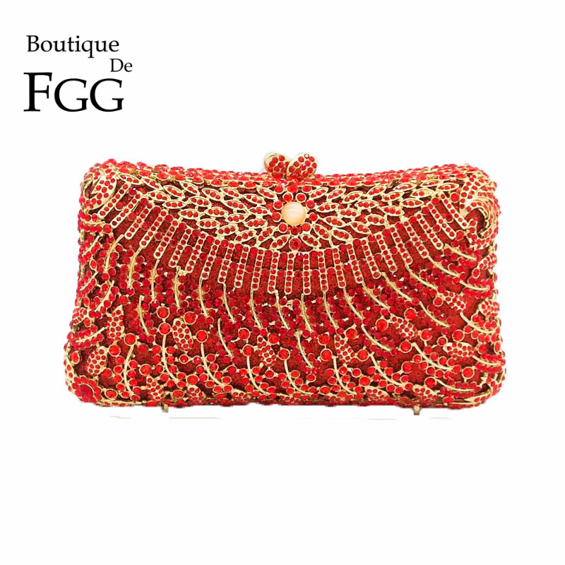 Red Ruby Leaf Hollow Out Women Crystal Clutch Eveningbags Ladies Diamond Metal Clutches Handbags Bridal Wedding Party Prom Purse chic faux crystal leaf hollow out bracelet for women