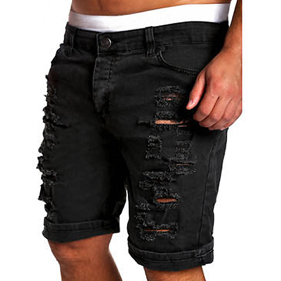 New Summer Ripped Mens Denim Shorts Slim Regular Knee Length Short Hole Jeans  Shorts For Male White Blue black red coffee a06b2772e70