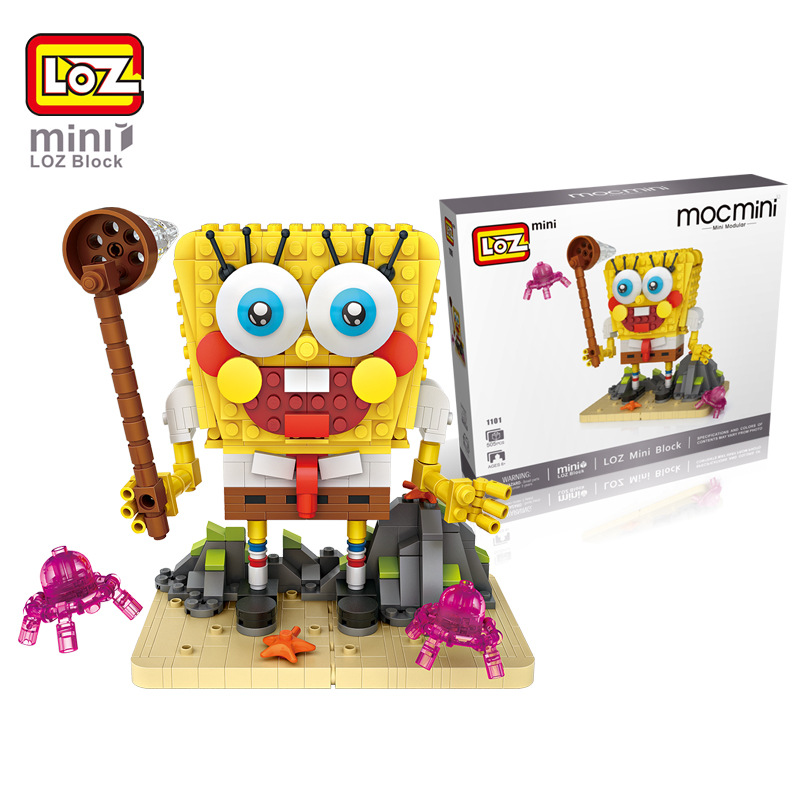 где купить LOZ Sponge Bob Building Blocks DIY Building Bricks Action Toys Figure Kids Educational Gift Toys brinquedos educativo juguetes дешево