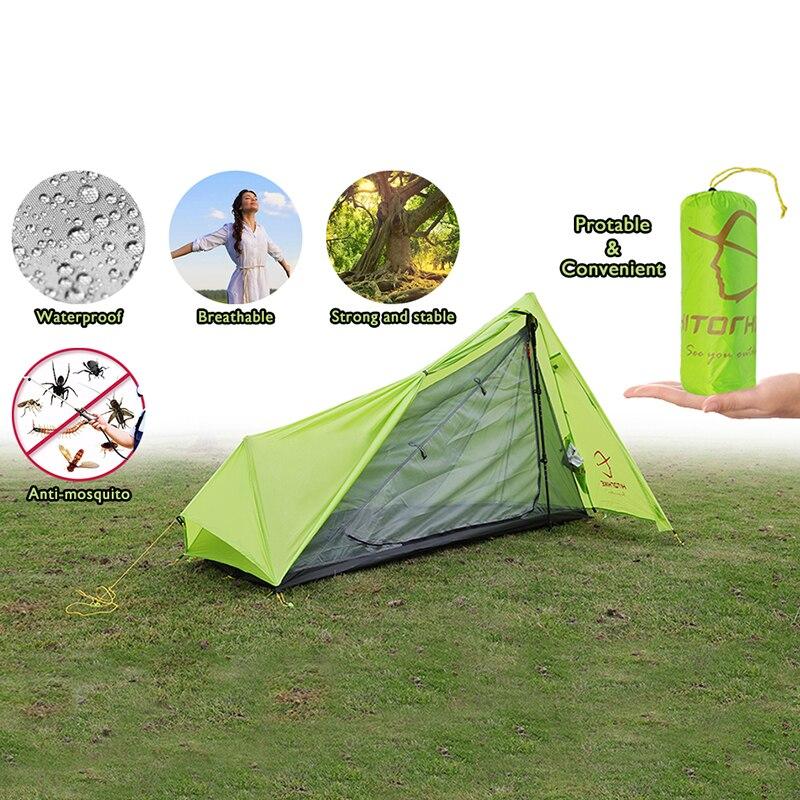 Hitorhike 0.8 kg 3F Vitesse Sans Tige Tente Ultra-Léger 15D De Silicium Unique Personne Camping Tente 1 Personne 3 Saison Avec Empreinte 2 couleurs