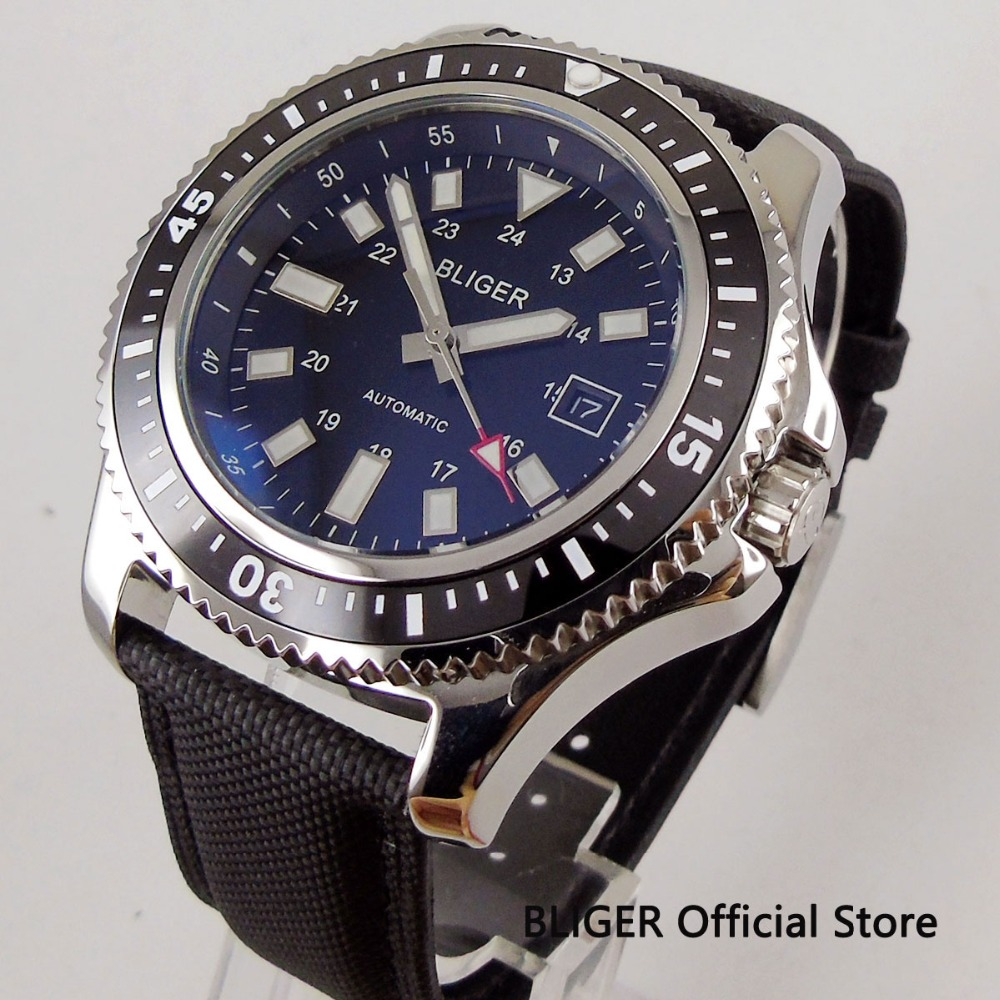 Solid 44mm BLIGER black dial ceramic rotating bezel luminous marks stainless steel case MIYOTA automatic movement mens watchSolid 44mm BLIGER black dial ceramic rotating bezel luminous marks stainless steel case MIYOTA automatic movement mens watch