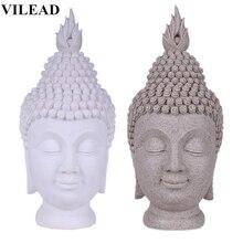 VILEAD 15.7 Sandstone Buddha Head Figurine Thiland Buddha-Headed Statue Fengshui Creative Miniatures Home Decor