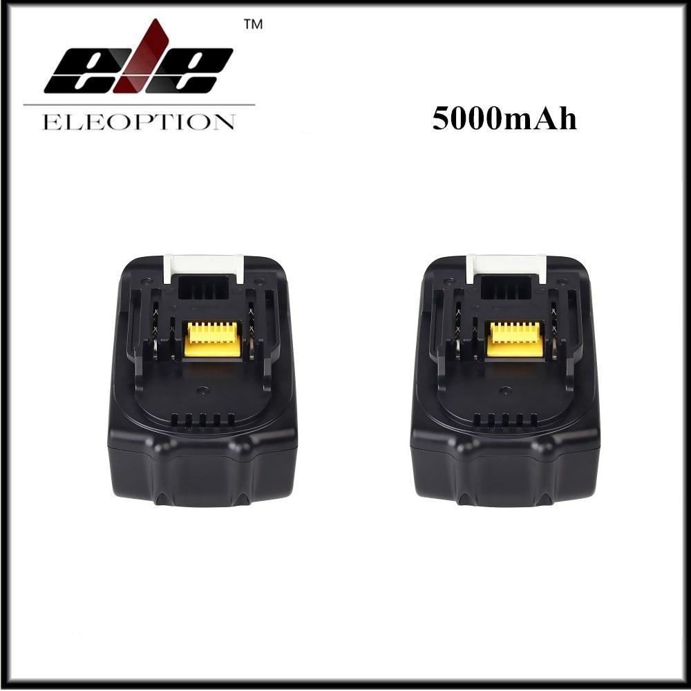 2pcs/set Eleoption 5000mAh 18V Li-ion Replacement Battery for Makita BL1850 BL1830 BL1845 BL1840 LXT 3pcs set 18v lithium li ion battery 3000mah rechargeable replacement power tool battery for makita li ion lxt 18v machines