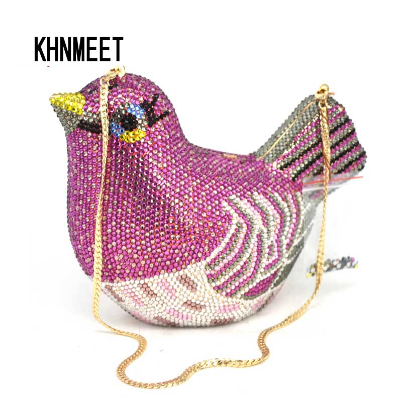 Fashion Women Luxury Crystal Bag Wedding Clutch Purse Rhinestone Evening Bag Bird Clutch Handbag Lavender Party handbag SC468 women luxury rhinestone clutch evening handbag ladies crystal wedding purses dinner party bag bird flower purse zh a0296