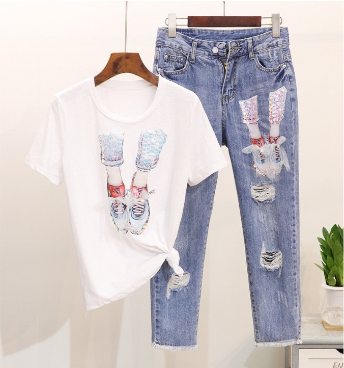 2019 New Spring and Summer Women Gauze Shoe Sequined Short-sleeved T-shirt + Holes Jeans Trousers Two Piece Pants Set