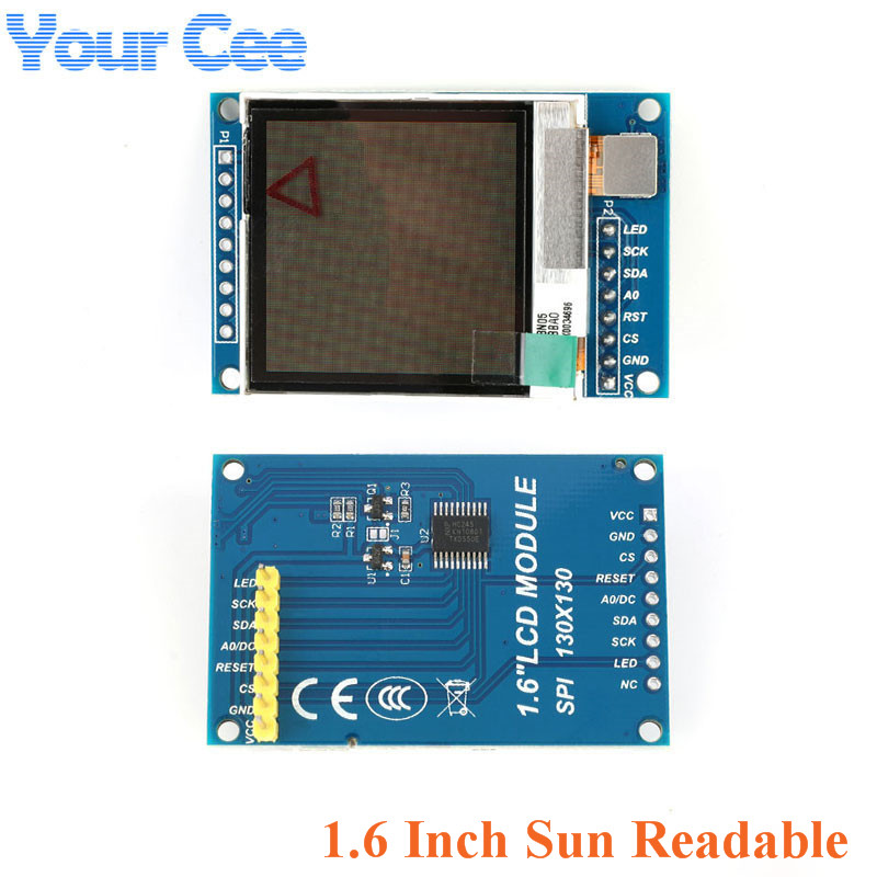 1.6 Inch SPI Serial LCD <font><b>TFT</b></font> Display Screen Module 130*130 SSD1283 Visible Under Sunlight for <font><b>Arduino</b></font> 1.6