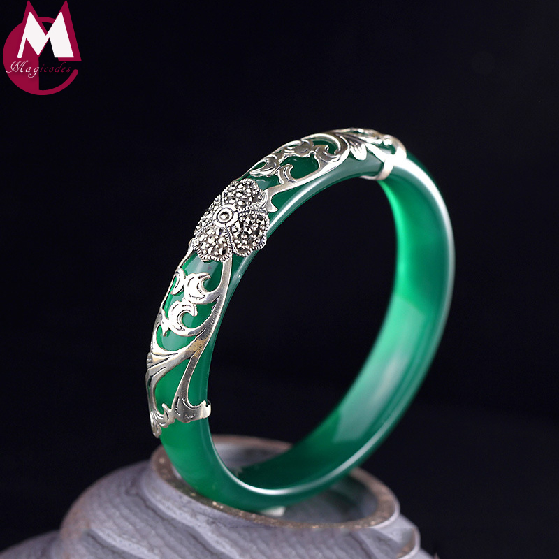 Classic 10mm Wide Green Chalcedony Bracelet For Women Vintage Clover Elegant Leaves Jewelry Real 925 Sterling Thai Silver Bangle fashion 925 sterling silver vintage green chalcedony buckle bracelet women thai silver gift jewelry ch058505