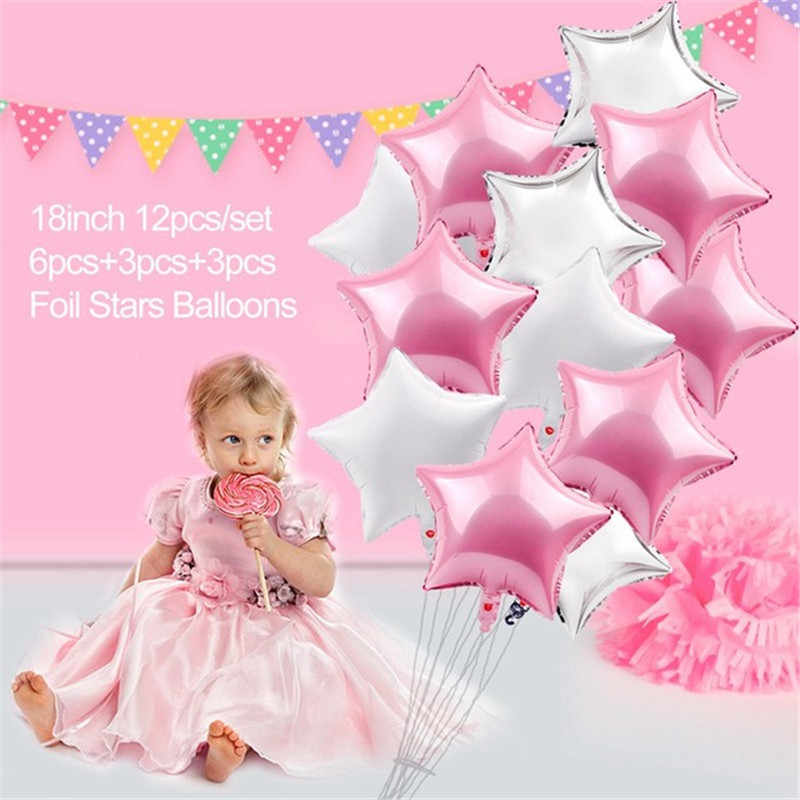 1st Pink Gold Balloons Birthday Party Decorations Kids Girl First Banner One Year Old Baby