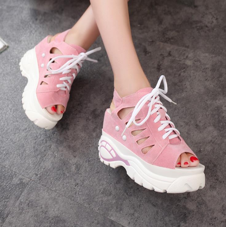 2018 new summer fashion women wedge sandals with muffin sandals thick fish mouth Roman Roman hollow 5