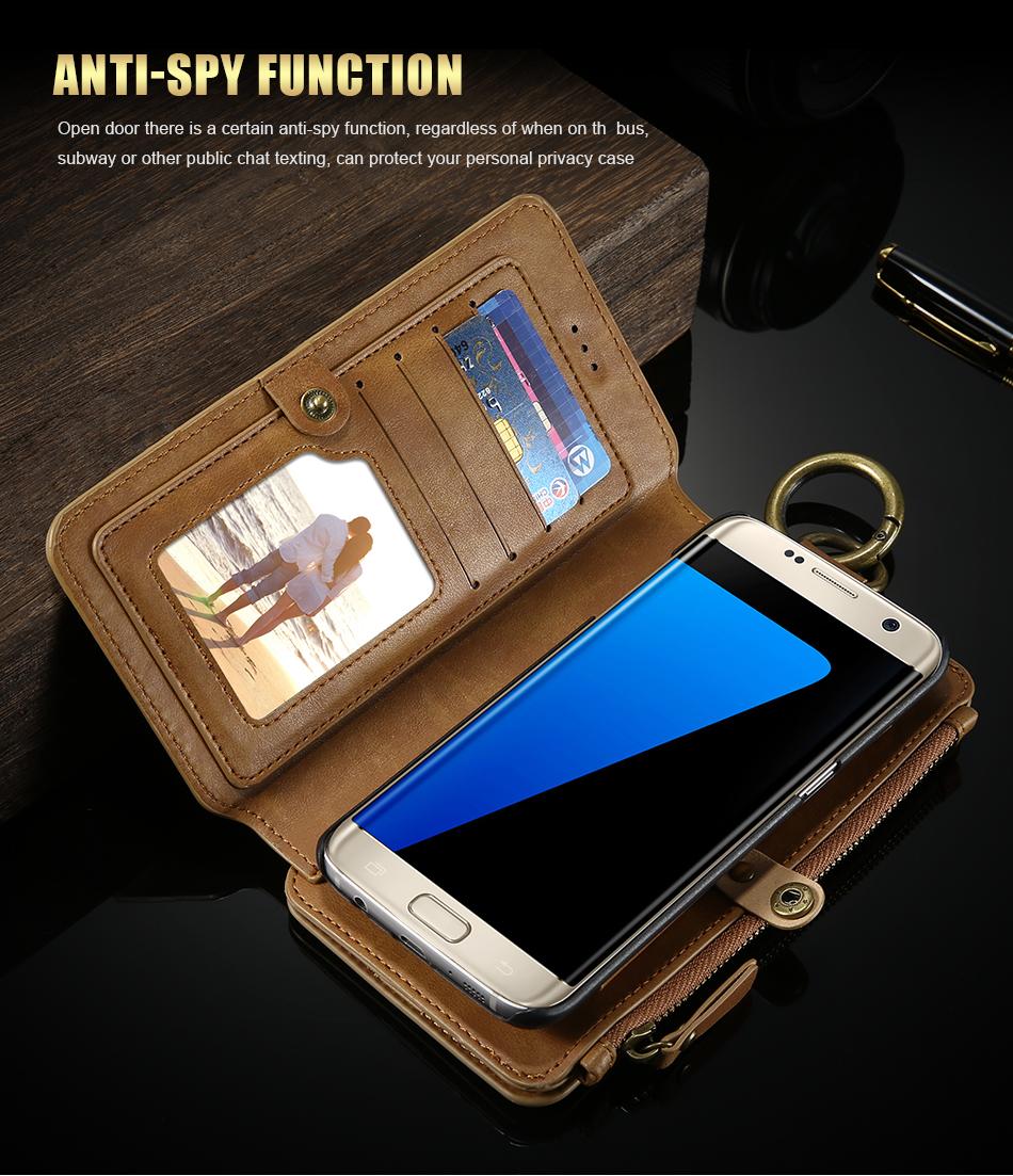 FLOVEME Hybrid Detachable Leather Case For Samsung Galaxy S7 Edge 18 Card Slot Metal Zipper Cash Storage Wallet Pouch Cover Bag (7)