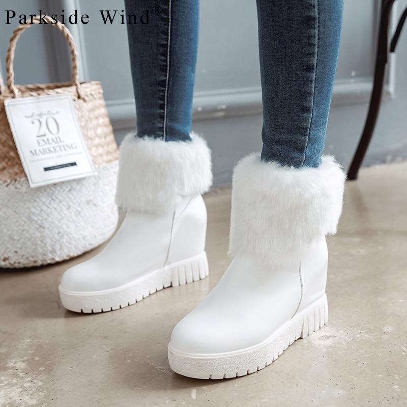 Des Croissante Neige Femmes gray Parkside Plate Bout Chaussures 45 Caoutchouc Femme Vent green En Peluche Beige white forme Pu black Bottes D'hiver Xwa2589 Cuir Rond BeCodx