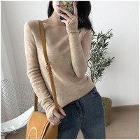 Autumn Winter Women Silk Alpaca Cashmere pullovers Knitted Tops long sleeve Basic sweater Fall Winter OL Soft Warm Knit Sweater