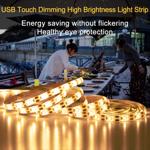 Flexible Touch Switch Dimmable LED Strip light 1M 2M 3M 4M 5M USB LED Wardrobe Cabinet lamp Tape Closet Kitchen Night Lighting