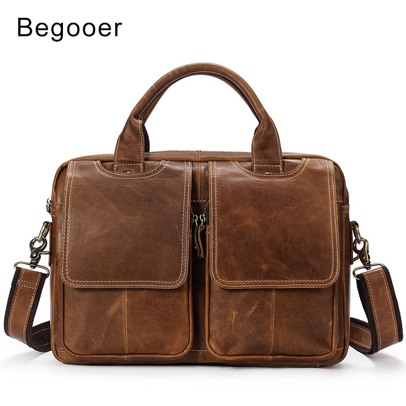 Vintage Men's Briefcases Bag Men's Genuine Leather Bags Man Briefcase Laptop Male Tote Handbag Shoulder Bags For Men Cross Body