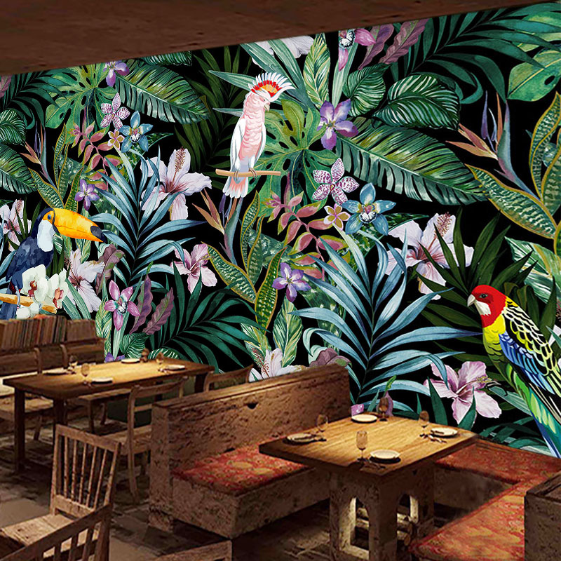 Us 885 41 Offbeibehang Custom Watercolor Flowers And Birds Wallpaper 3d Tropical Rain Forest Oil Painting Restaurant Tv Background Wall Paper In
