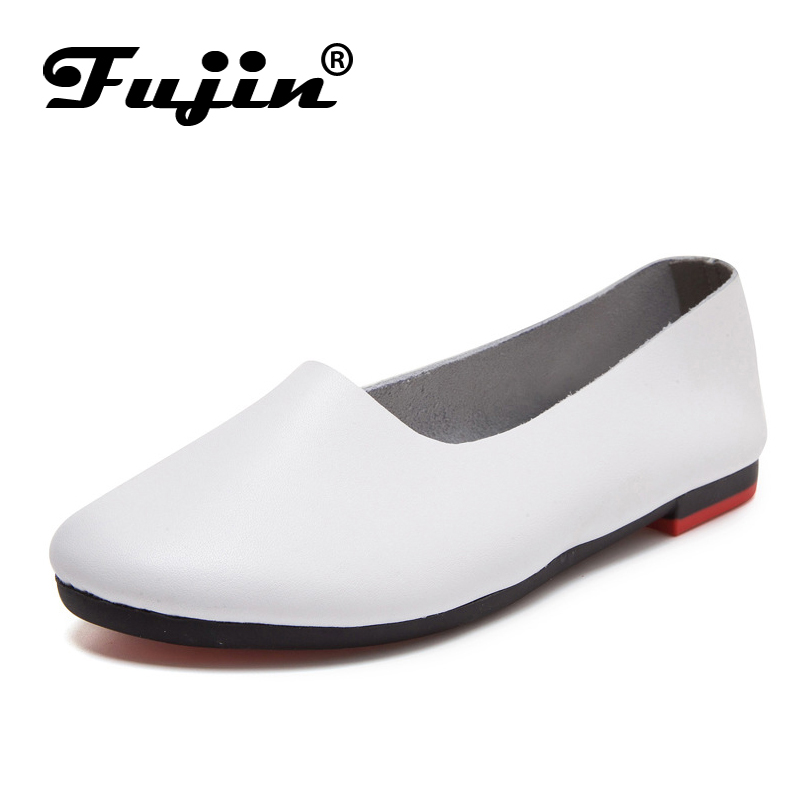 цена Shoes Woman  2018 Spring Brand Genuine Leather Women Shoes Flats 7 Colors Loafers Slip On Women's Flat Shoes  Round Toe Shoes онлайн в 2017 году