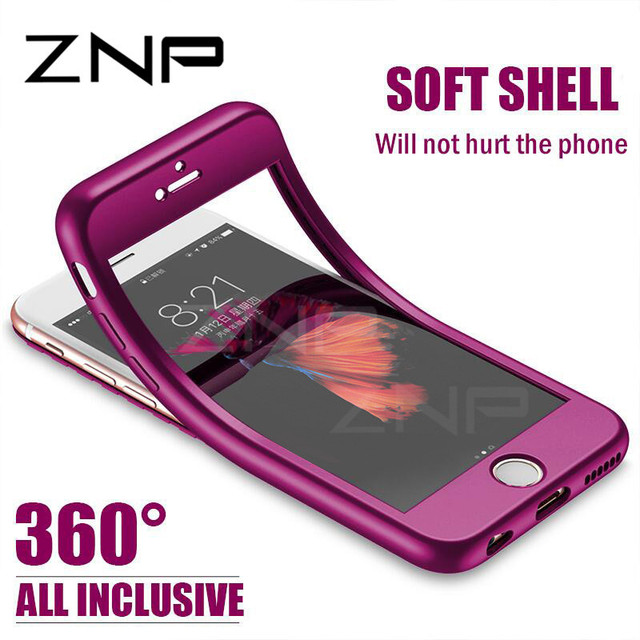 ZNP Luxury Soft TPU 360 Full Cover Cases For iPhone 8 7 6S 6 case 5 5S SE Cover Cases For iPhone 6 7 8 Plus case with glass