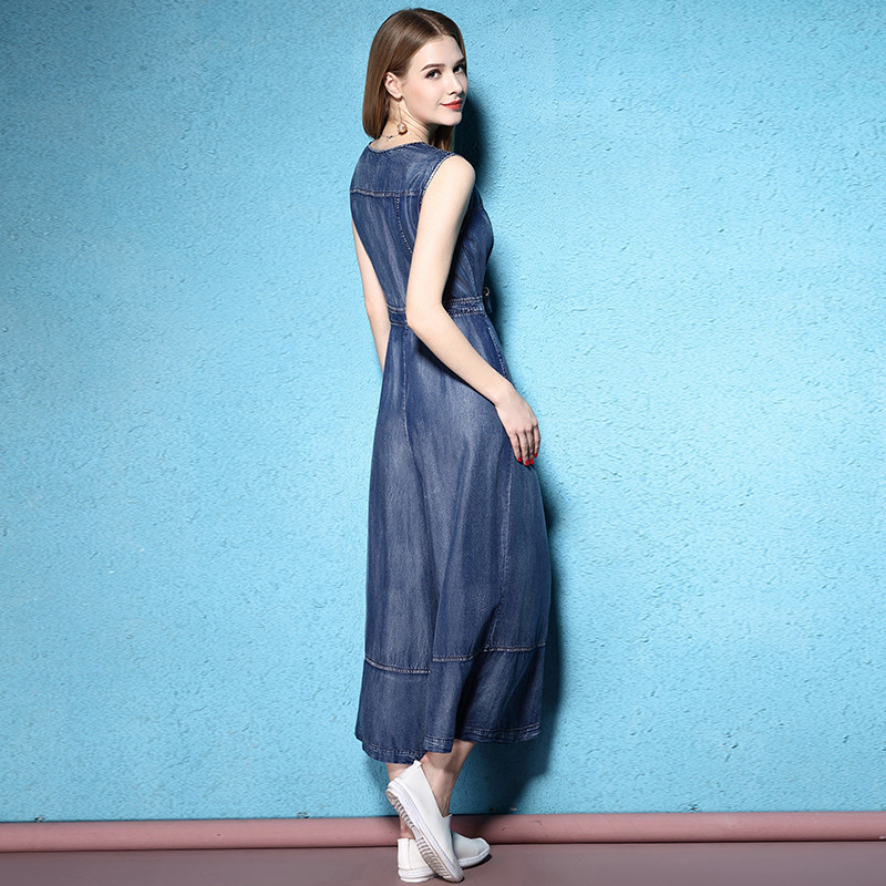 Autumn And Summer Thin Tencel Youth Sweet High Waist ankle length wide leg seeveless denim junmpsuits NW17B1034 in Jumpsuits from Women 39 s Clothing