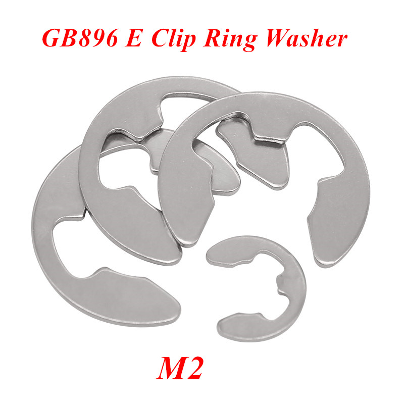 1000pcs GB896 M2 E Clip Washer Ring Washer 2mm Circlip retaining ring for shaft fastener hardware 304 Stainless steel image