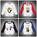 2016 Hot Sale Cartoon Anime Figure Despicable Me T-shirts, Minion Costume Children's Clothing, Kids Long-sleeve Tops&Tees