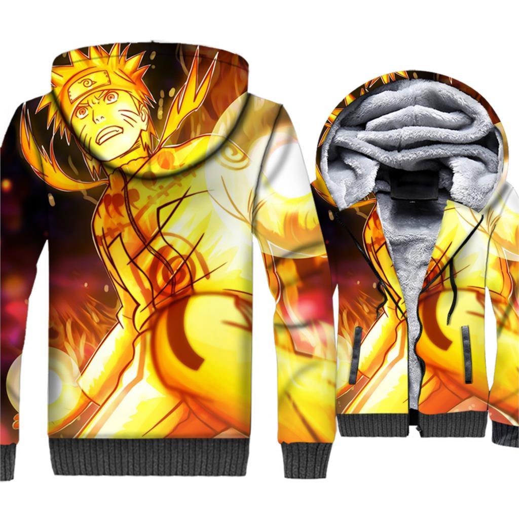 Naruto Uzumaki 3D Hoodies Men Japan Anime Harajuku Sweatshirts 2018 New Brand Winter Thick Fleece Warm Zipper Coat Ninja Jackets